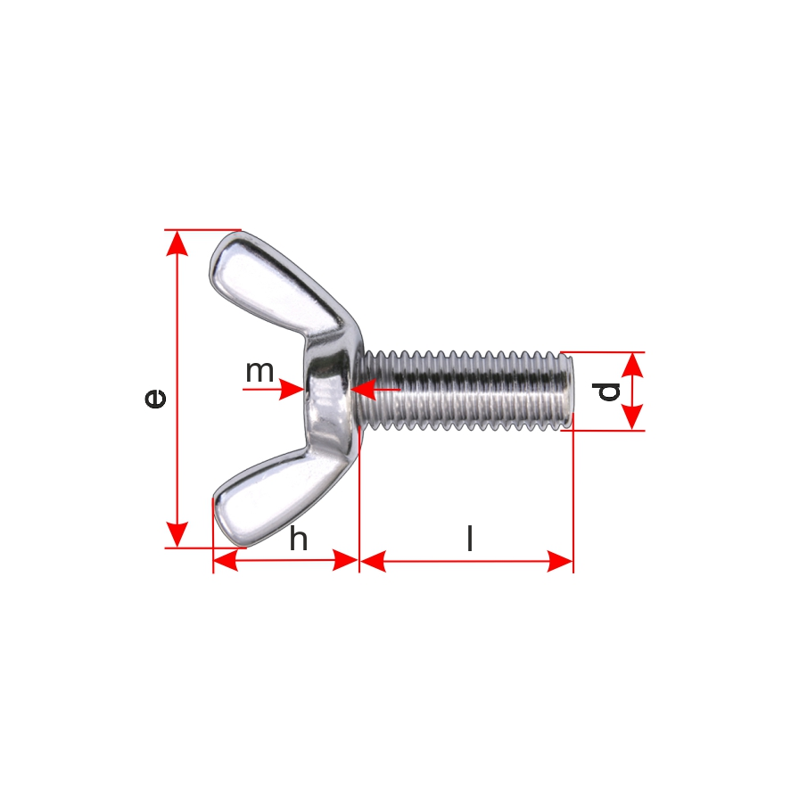 DIN 316 Edelstahl A2 10 St/ück Fl/ügelschrauben M10 X 25 amerik Form /ähnl