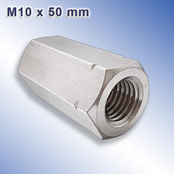 Abstandshalter   Sechskant-Muffen M10x30 Schildhalter Verbindungsmuttern Verbindungsmuffen Gewindemuffen M10 X 30 Sechskant Edelstahl A2 Langmuttern VPE = 2 St/ück Distanzmuttern